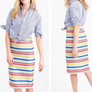 NWOT J. CREW Colorful Jacquard Striped Skirt 2